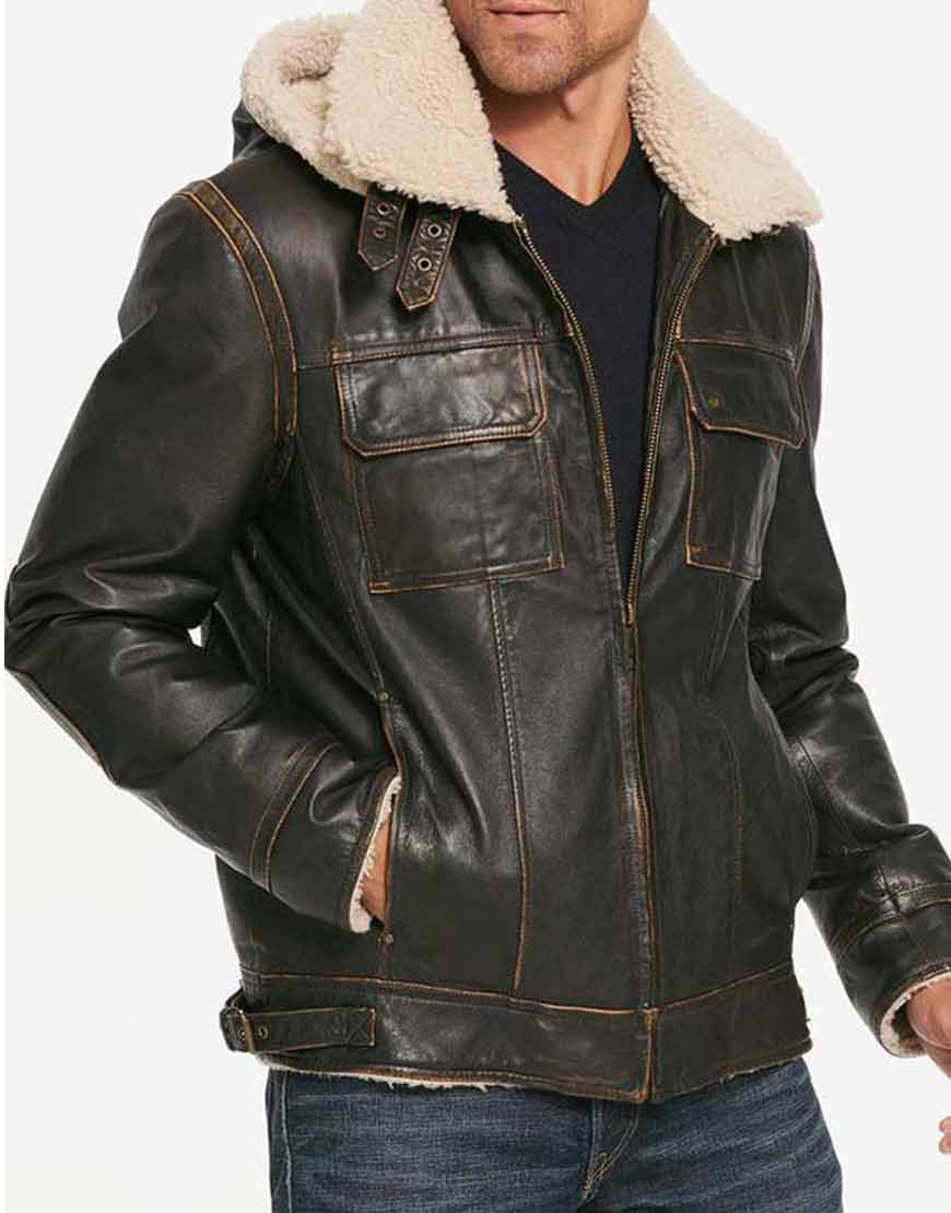 Waxed-Mens-Aviator-Hooded-Shearling-Leather-Jacket