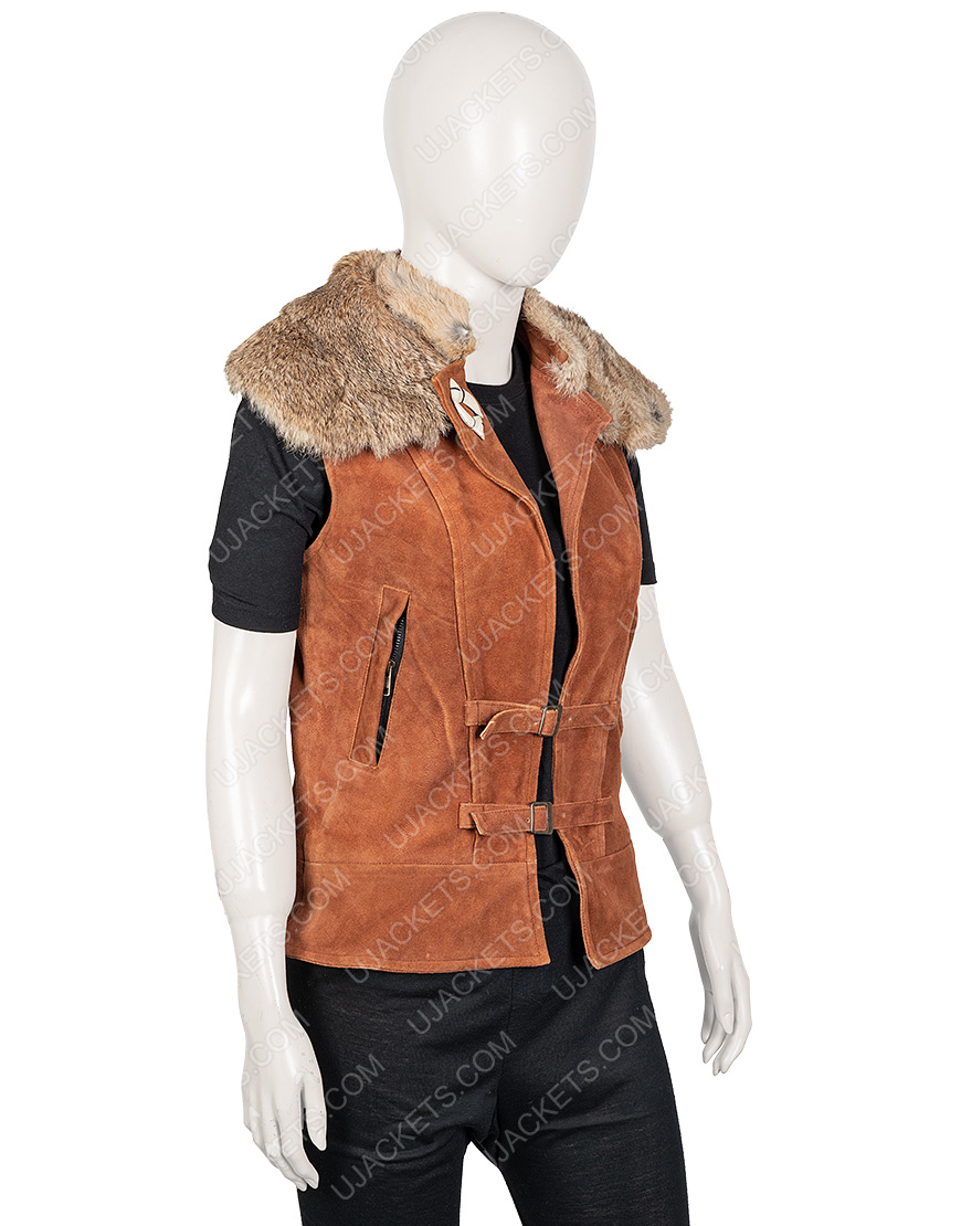 Zombies 2 Ariel Martin Brown Leather Wynter Vest With Fur