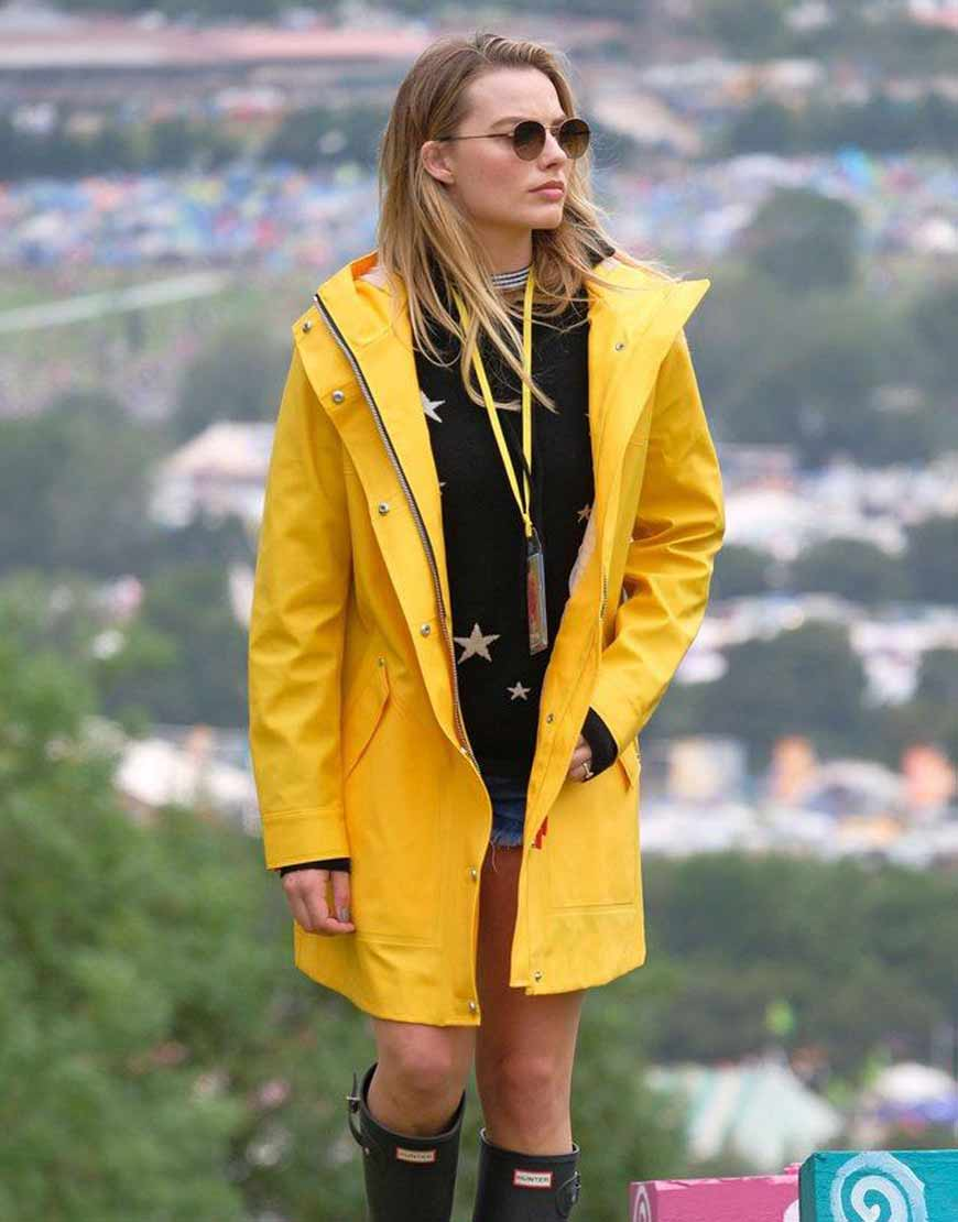 margot-robbie-yellow-Leather-coat