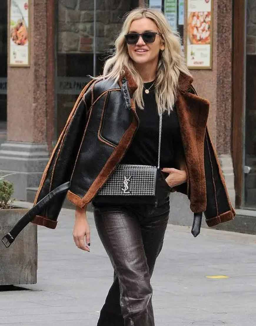 Ashley-Roberts-Christmas-Shearling-Aviator-Jacket