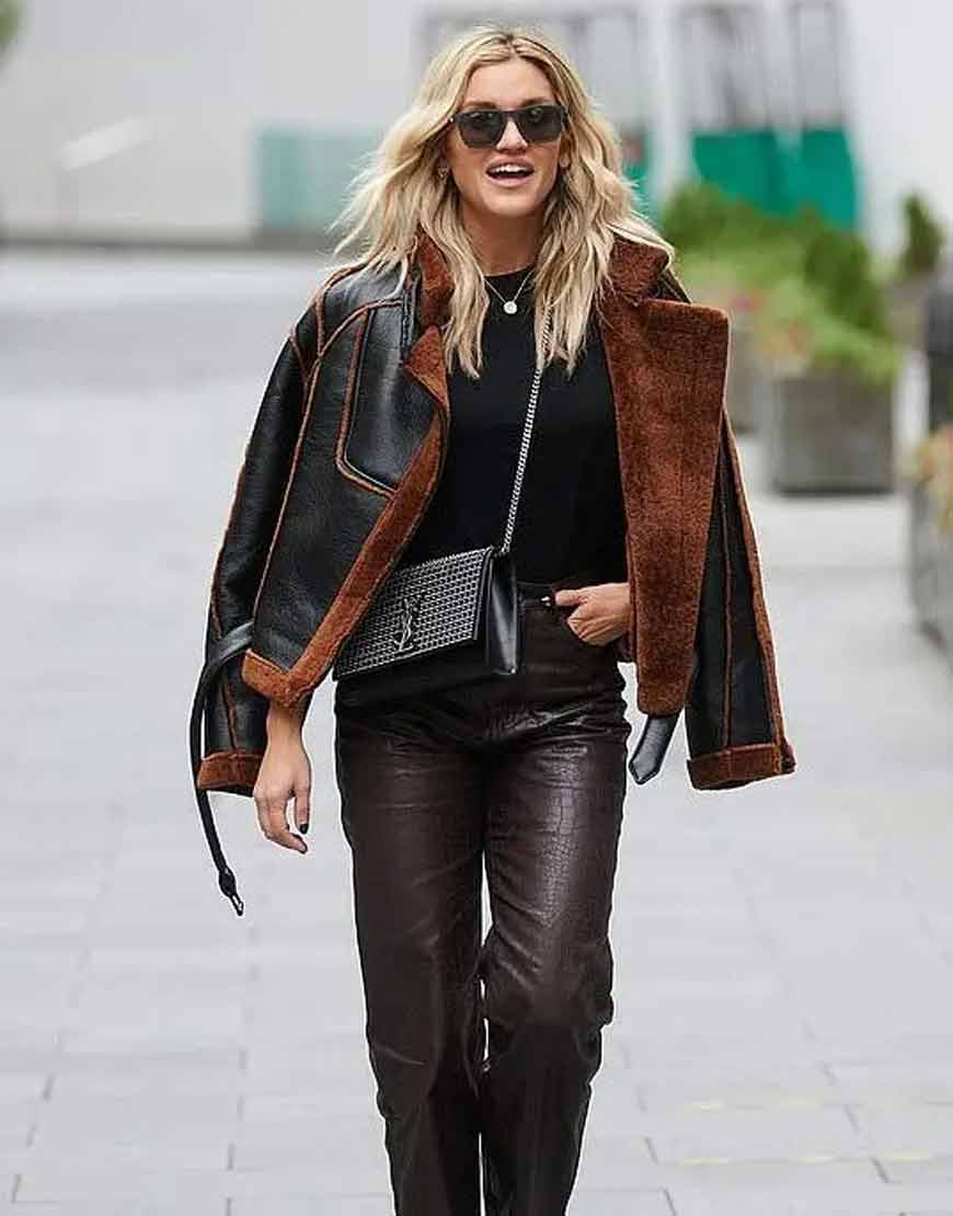 Christmas-Spirit-Ashley-Roberts-Black-Brown-Shearling-Leather-Jacket