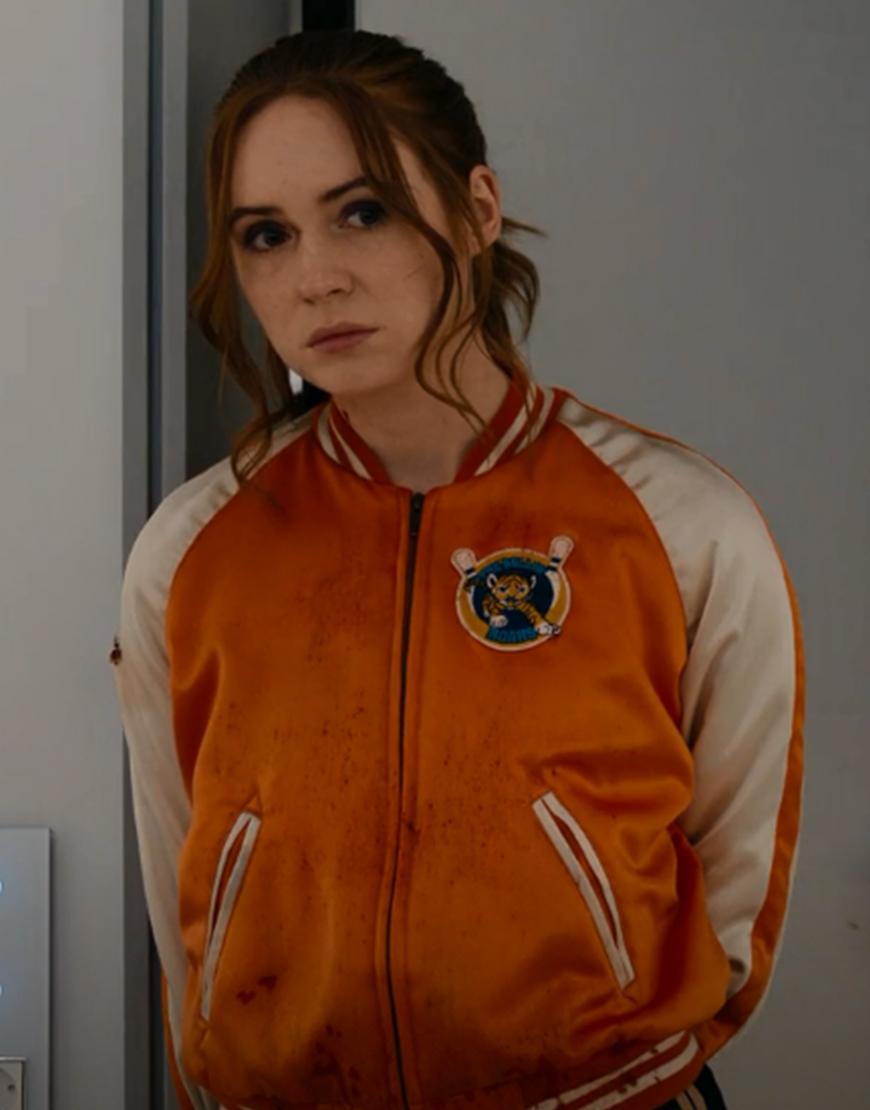 Eva Gunpowder Milkshake Karen Gillan Orange Satin Jacket