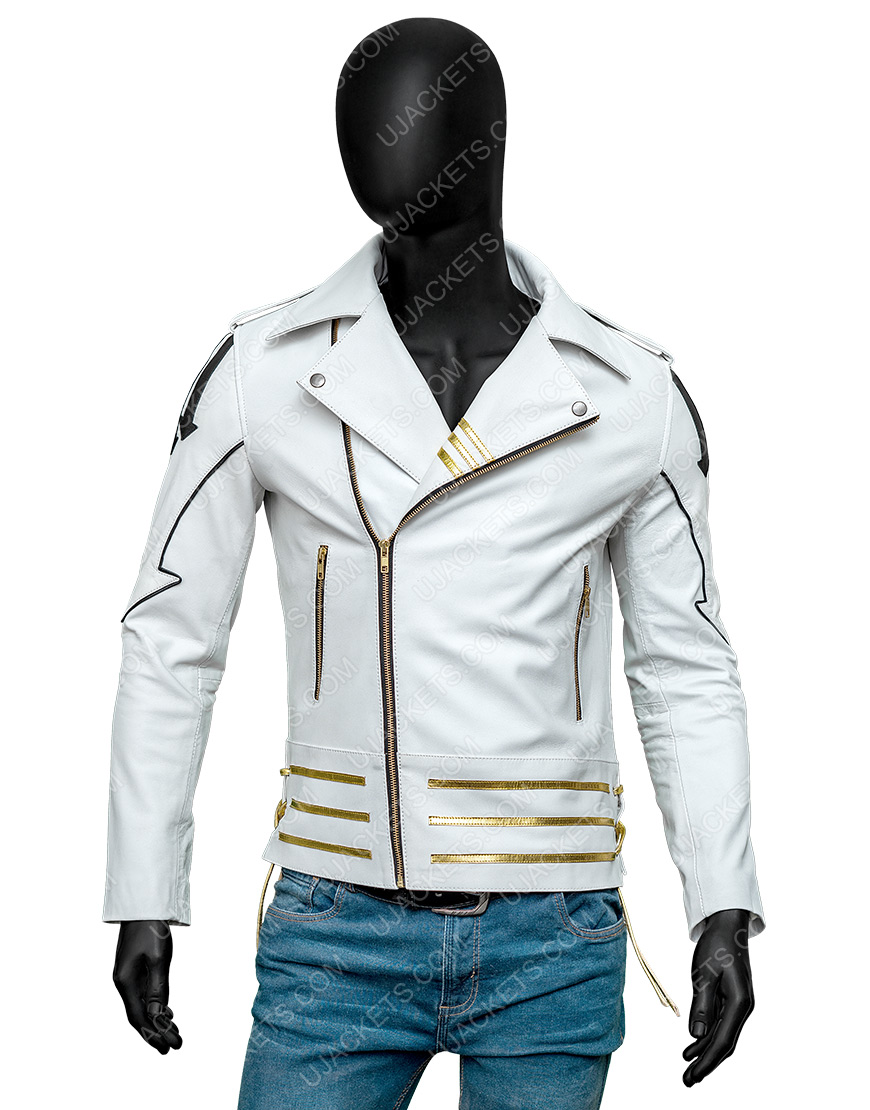 Freddie Mercury Queen White Leather Hot Space Jacket