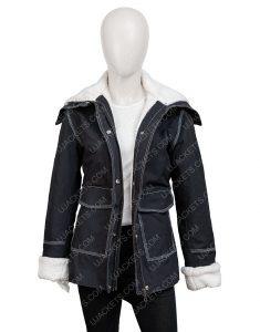 Holidate 2020 Emma Roberts Shearling Trim Jacket
