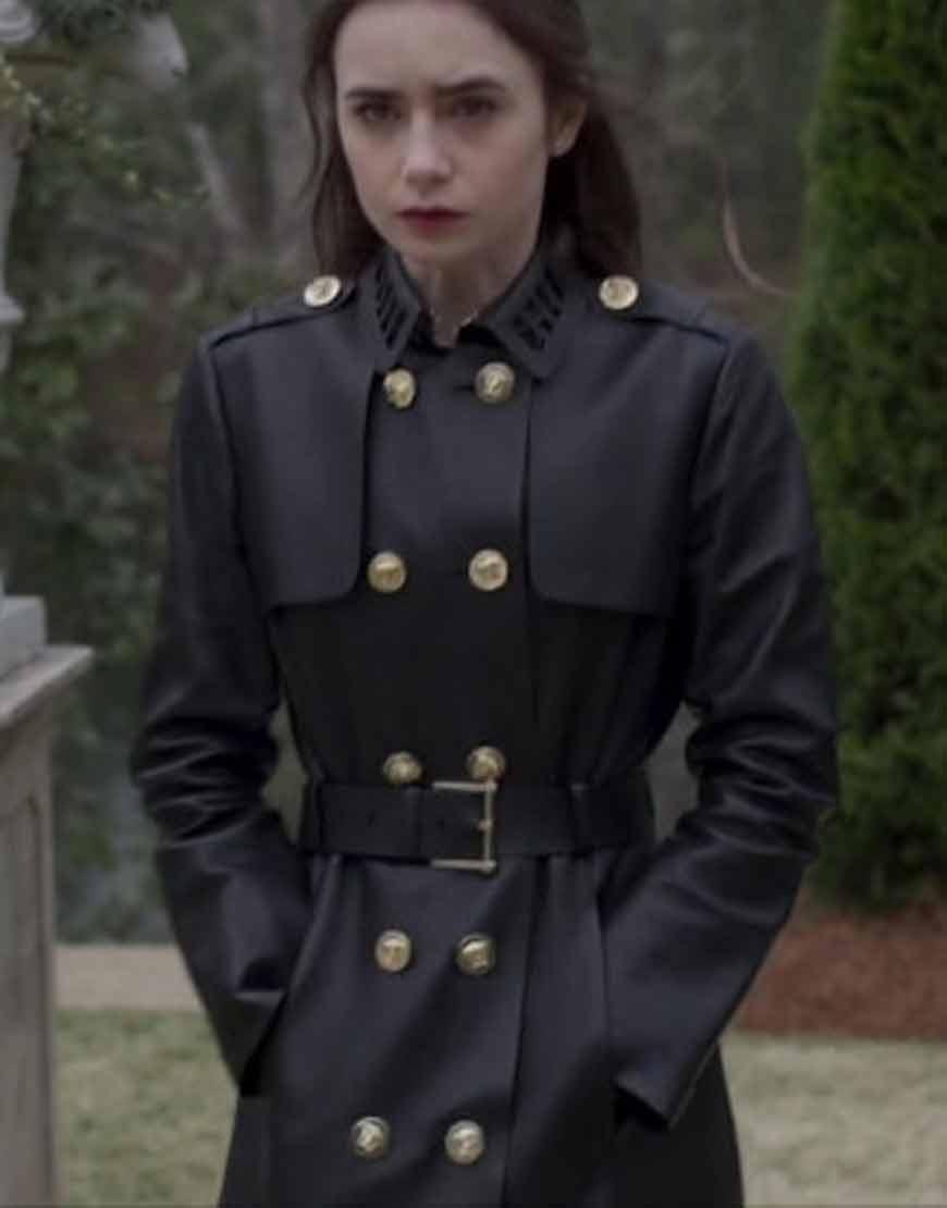 Inheritance-Lily-Collins-Black-Leather-Coat