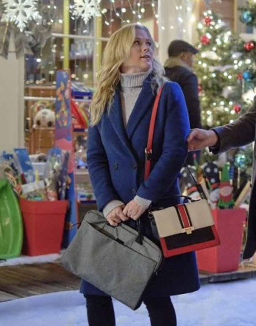 Melissa-Good-Morning-Christmas-Alison-Sweeney-Blue-Trench-Coat