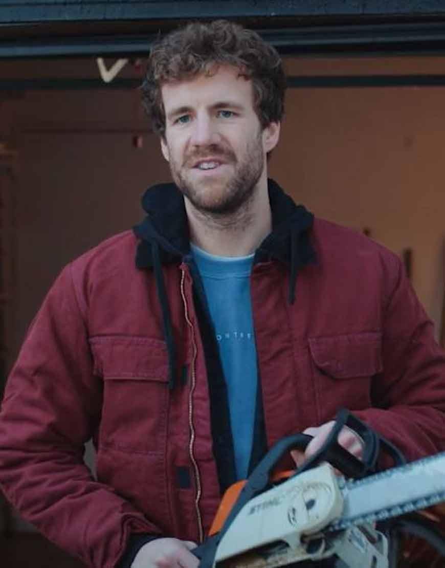 Over-Christmas-Luke-Mockridge-Maroon-Hooded-Jacket