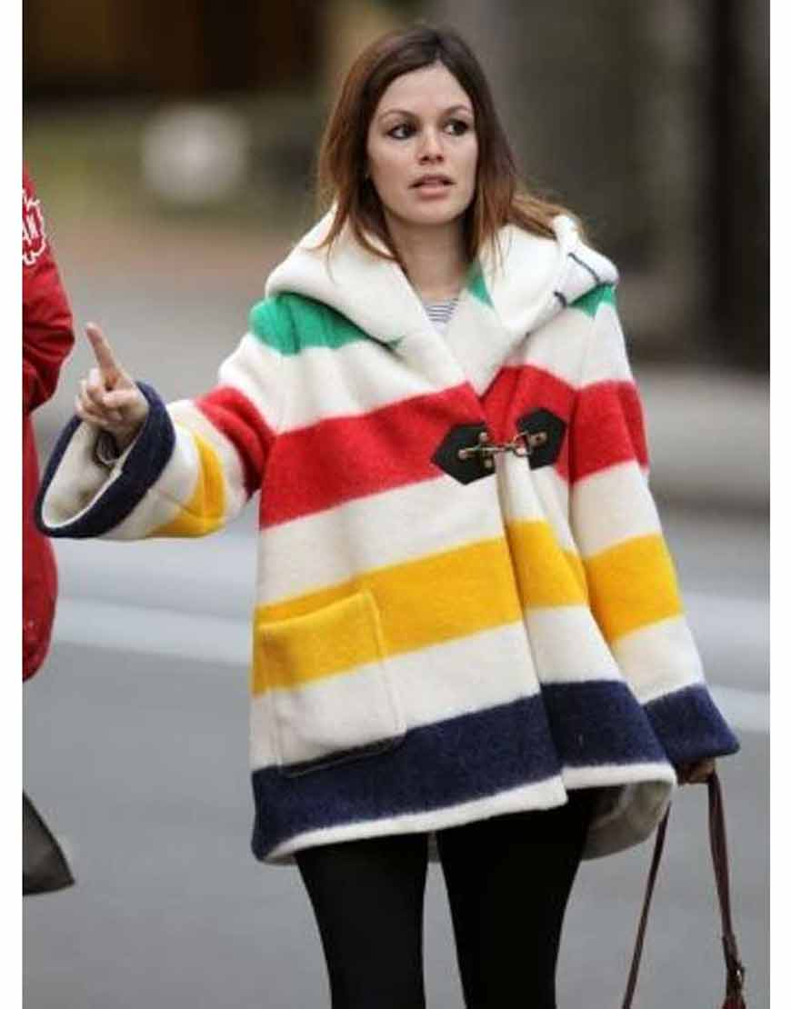 Rachel-Bilson-Blanket-Striped-Coat