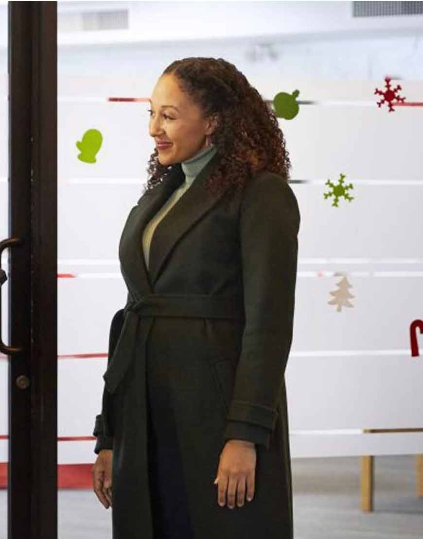 Tamera-Mowry-Housley-Christmas-Comes-Twice-Green-Trench-Coat