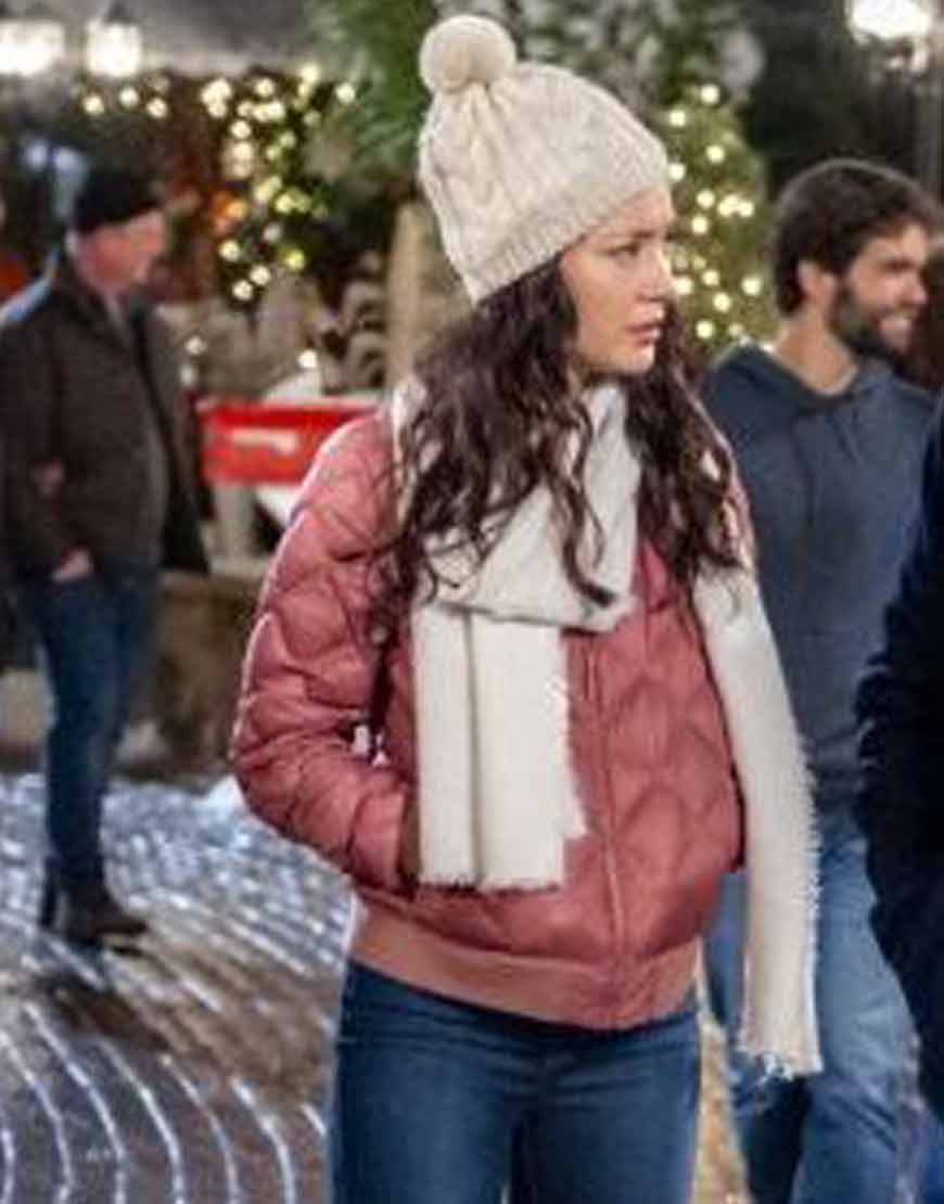 The-Christmas-Bow-Lucia-Micarelli-Pink-Quilted-Satin-Jacket