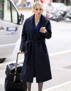 The-Flight-Attendant-Cassie-Bowden-Black-Belted-Trench-Coat