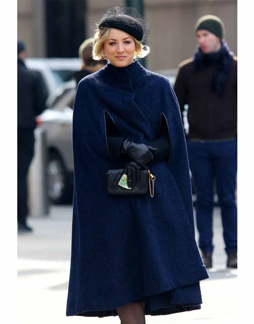 The-Flight-Attendant-Kaley-Blue-Cuoco-cape-Coat