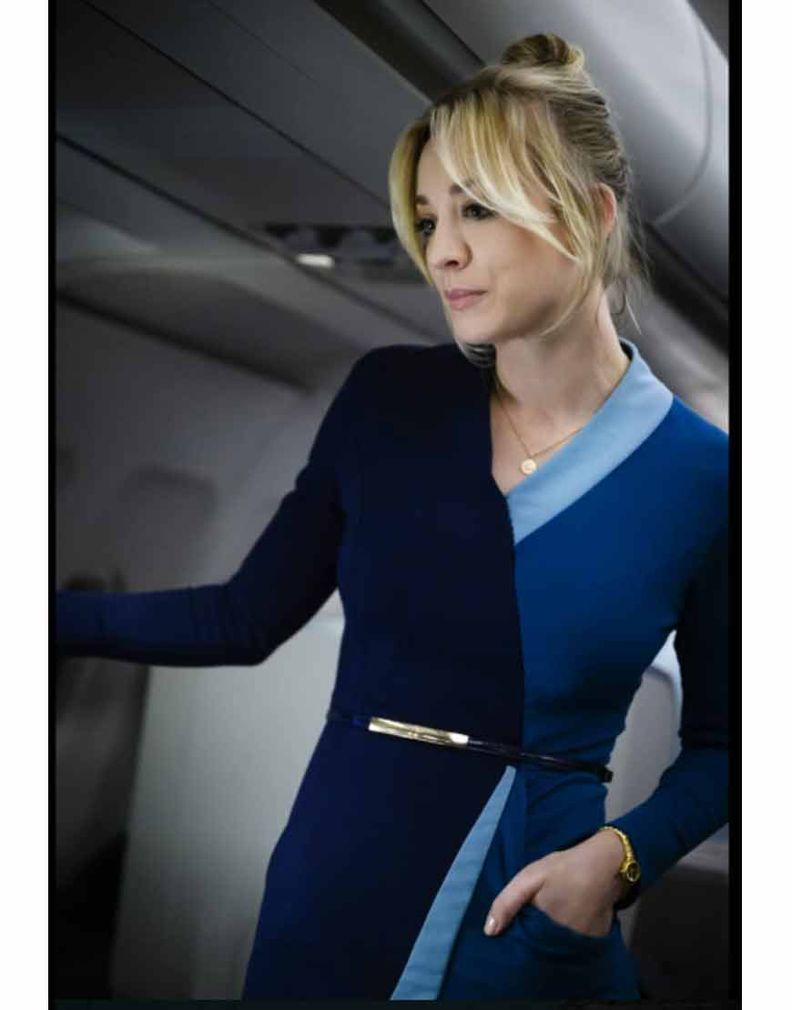 The-Flight-Attendant-Kaley-Blue-Wrap-Dress