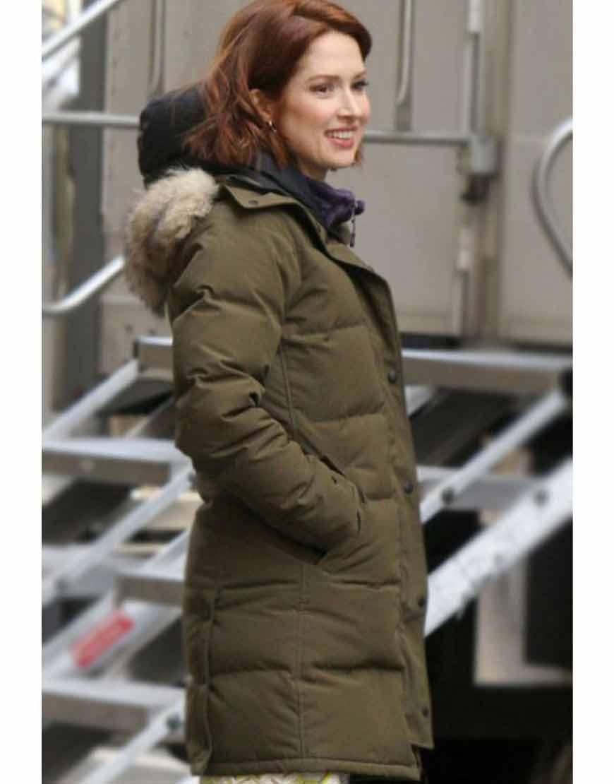 The-Stand-In--Ellie-Kemper-Green-Parachute-Puffer-Coat