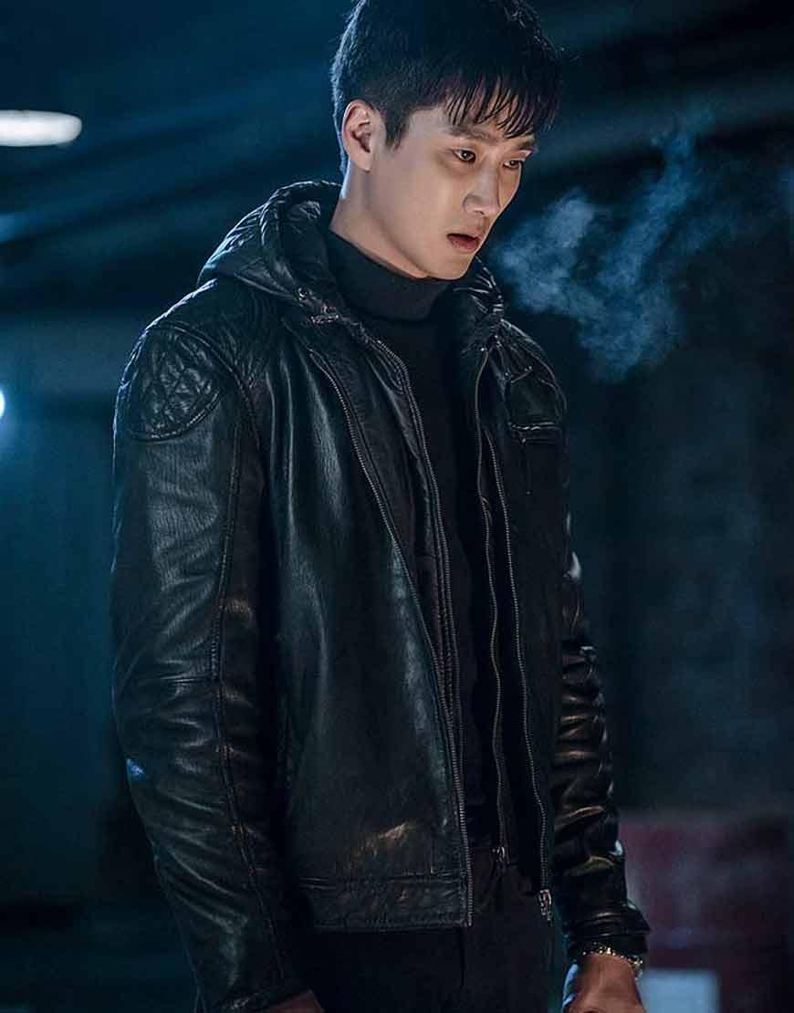Ahn-Bo-Hyun-Itaewon-Class-Jang-Geun-Won-Black-Leather-Hooded-Jacket