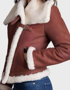 Brown-Sheepskin-Ladies-Shearling-Leather-Jacke