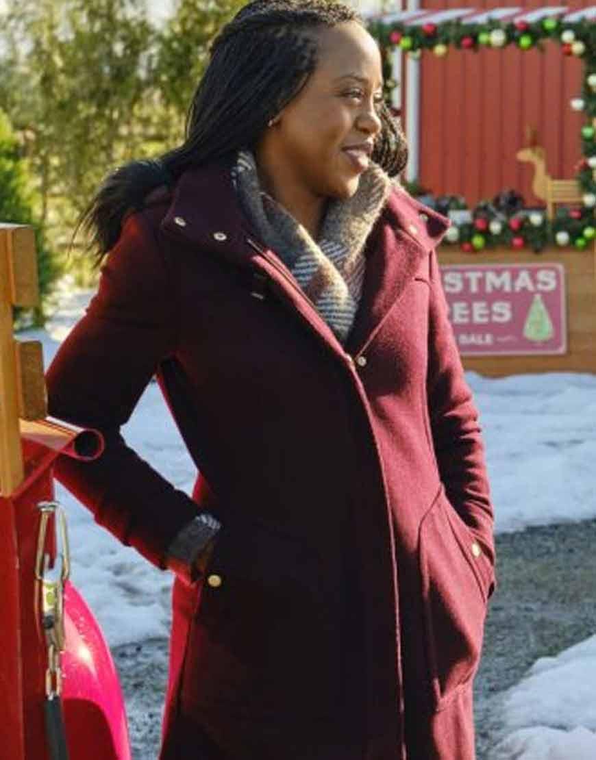 Christmas-In-Evergreen-Bells-are-Ringing-Rukiya-Bernard-Maroon-Coat