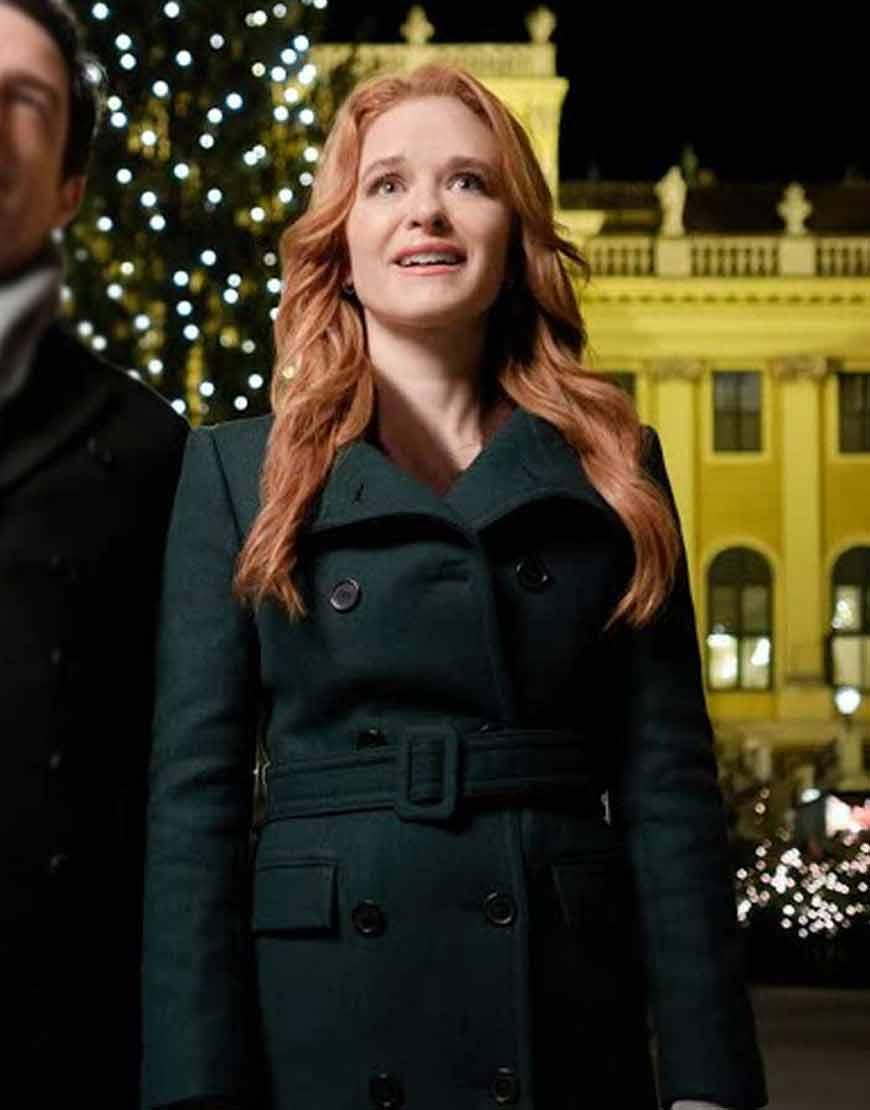 Christmas-in-Vienna-Sarah-Drew-Green-Belted-Coat