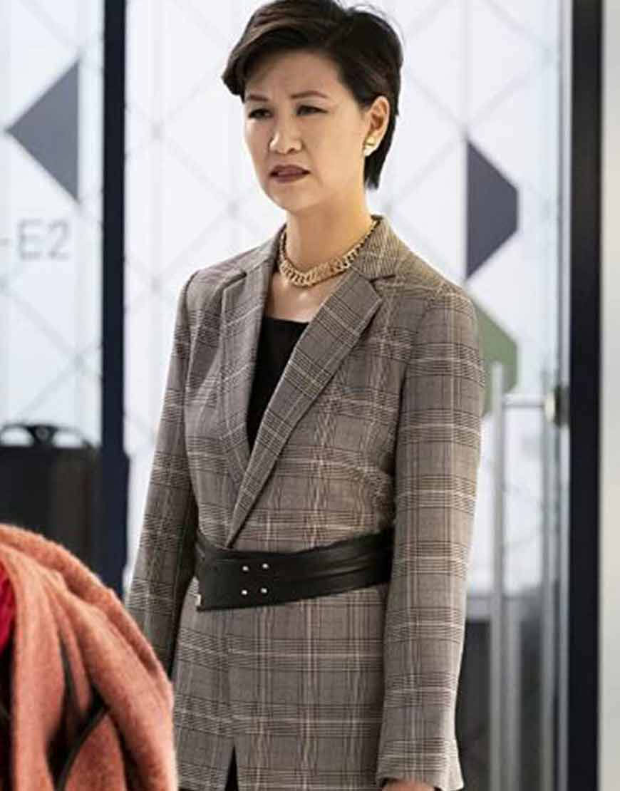 Cindy-Cheung-The-Flight-Attendant-Jean-Miller-Grey-Coat