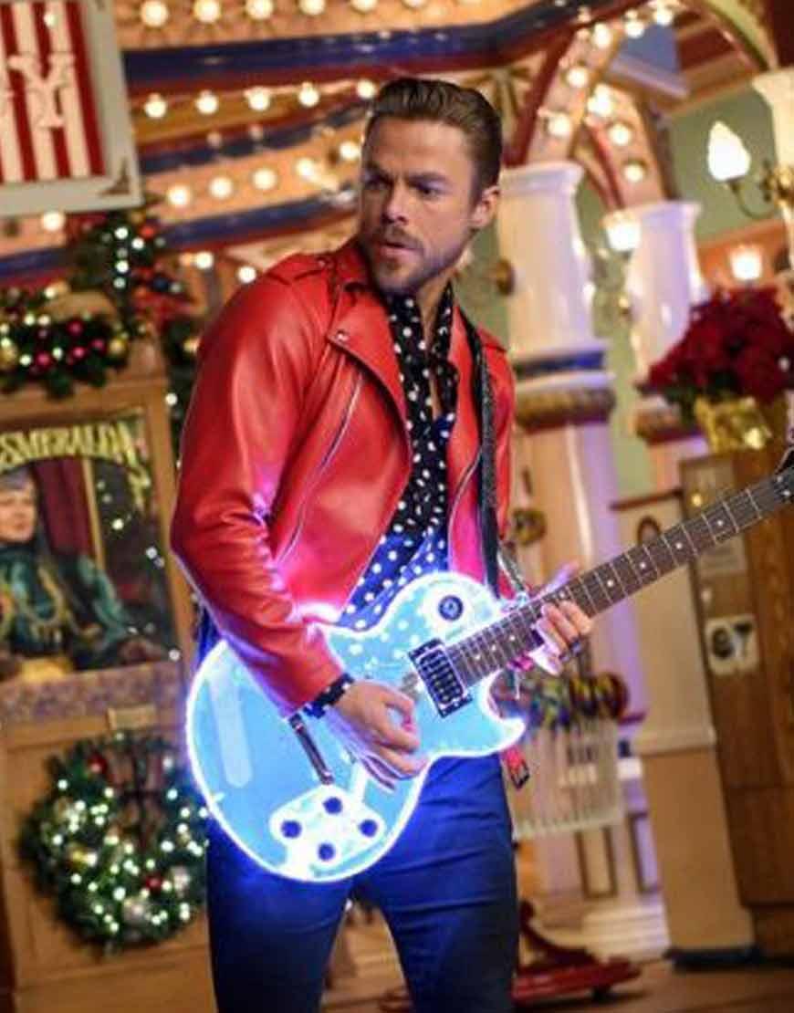 Disney's-Magical-Holiday-Celebration-Derek-Hough-Red-Leather-Jacket