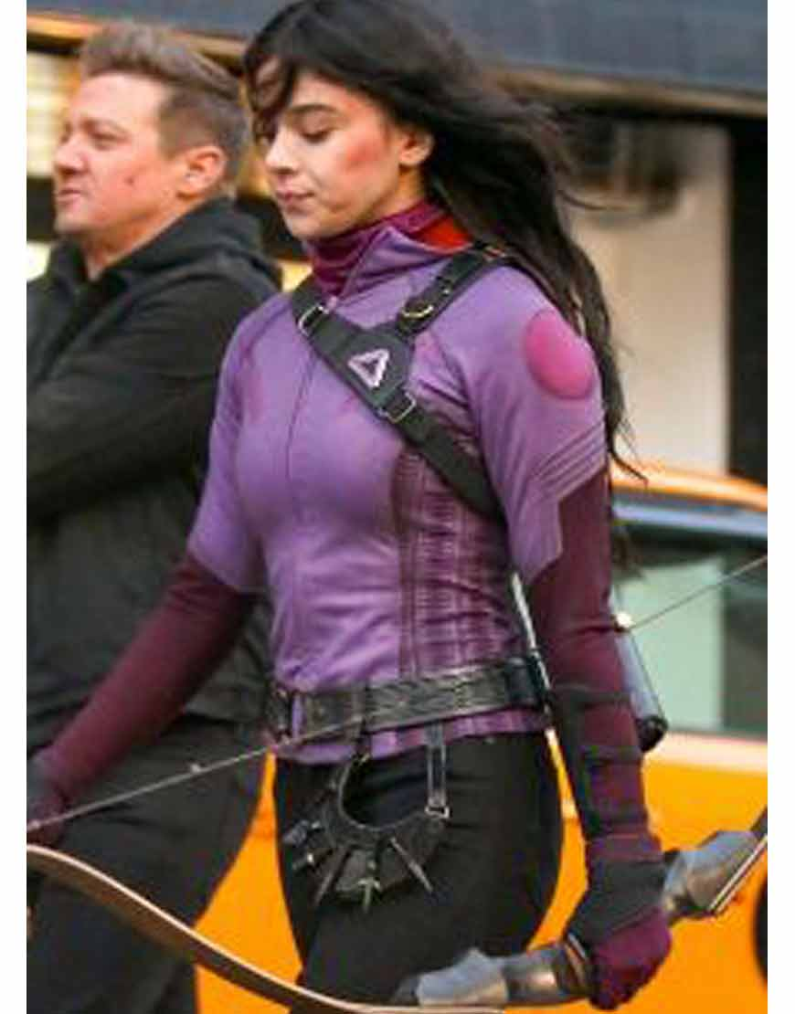 Hailee-Steinfeld-Hawkeye-Purple-Leather-Jacket