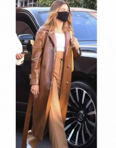 Hailey-Bieber-Brown-Leather-Coat