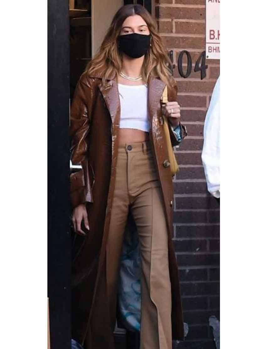Hailey-Bieber-Brown-Leather-Trench-Coat