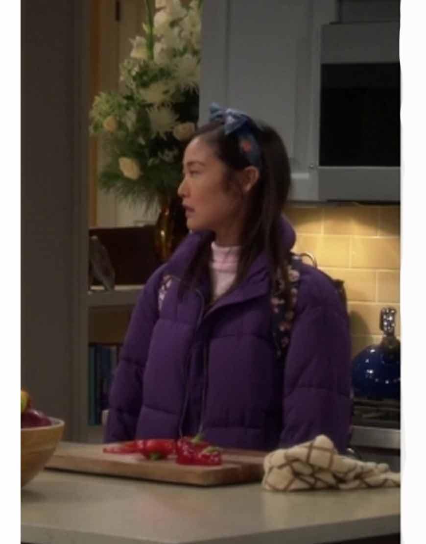Last-Man-Standing-Krista-Marie-Yu-Purple-Padded-Puffer-Jacket