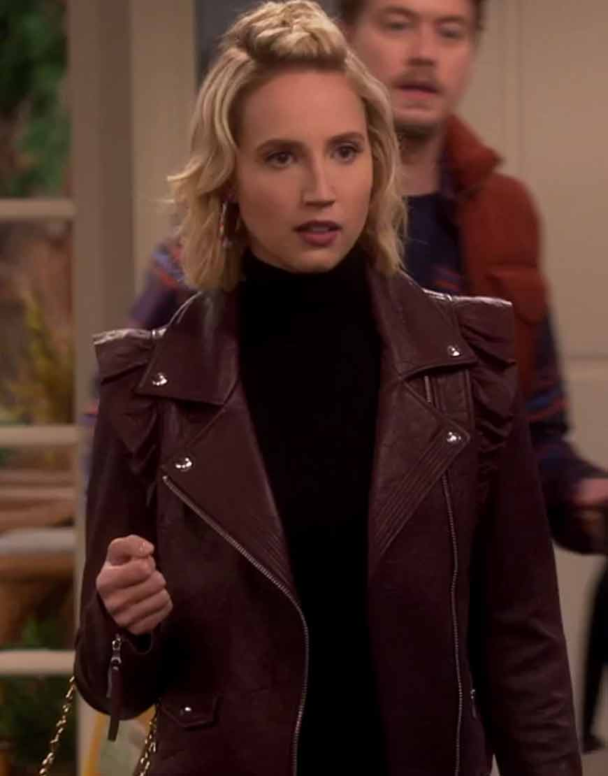 Last-Man-Standing-Molly-McCook-Burgundy-Ruffle-Leather-jacket