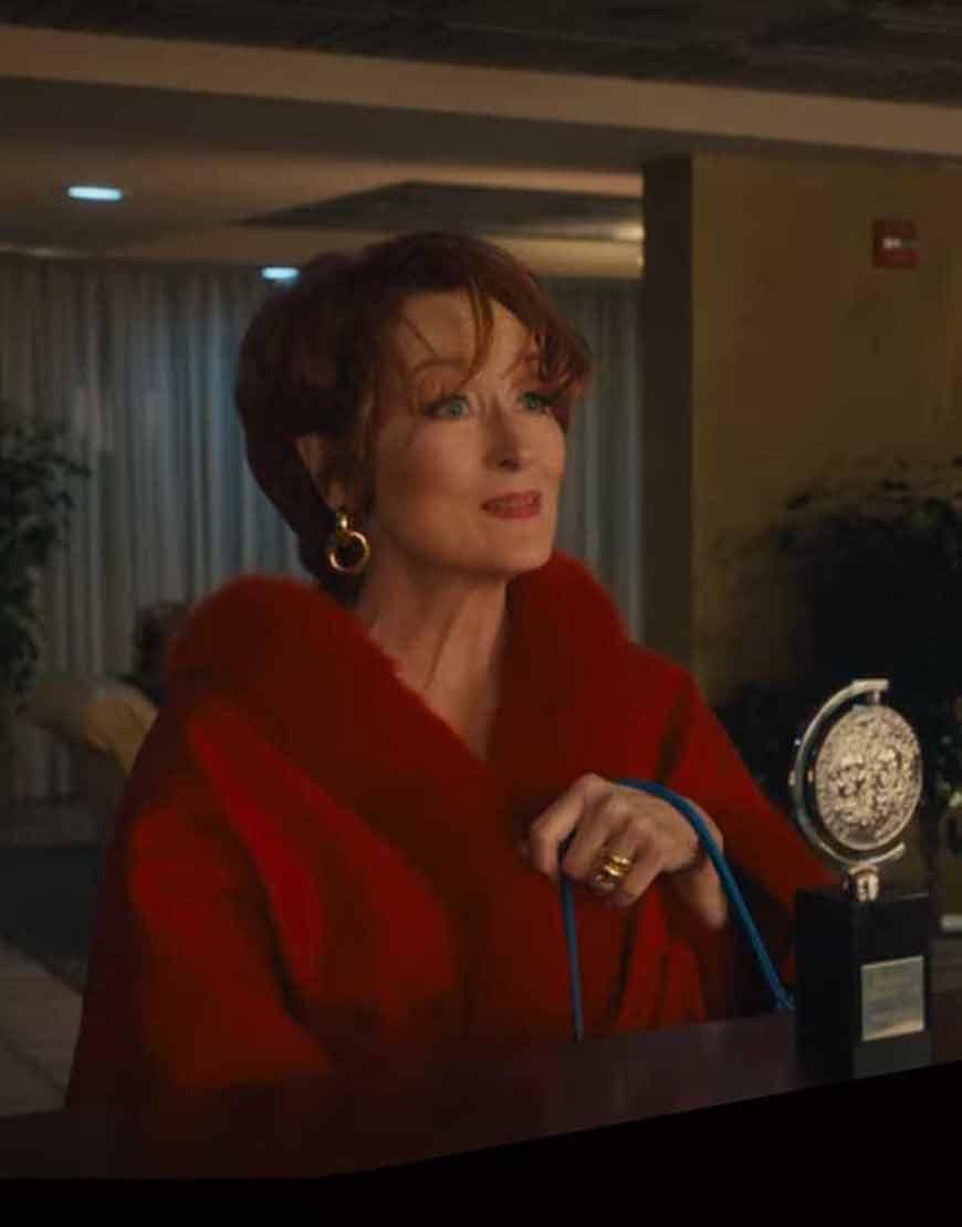 Meryl-Streep-The-Prom-Dee-Dee-Allen-Red-Fur-Cape-Coat