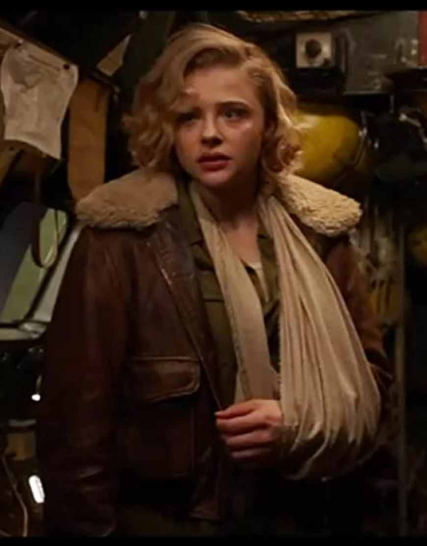Shadow-in-the-Cloud-(2020)-Chloë-Grace-Moretz-Brown-Leather-Jacket