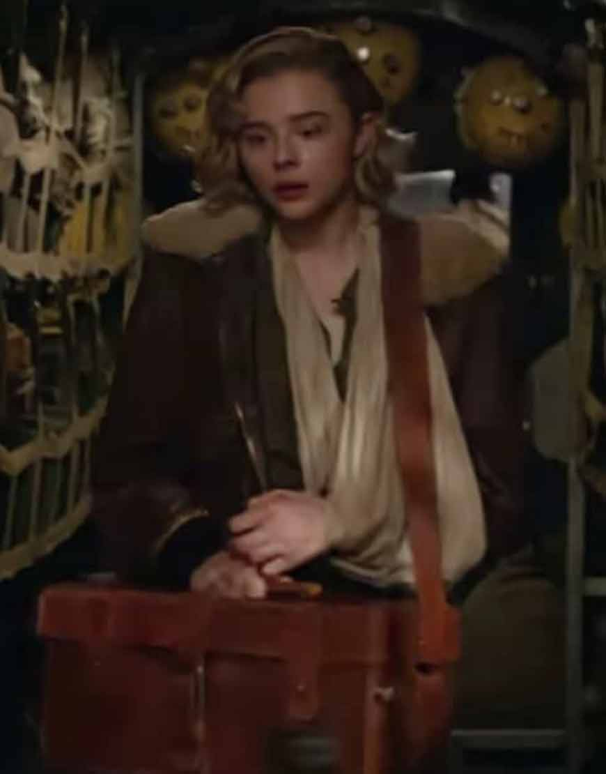 Shadow-in-the-Cloud-Chloë-Grace-Moretz-Brown-Leather-Jacket
