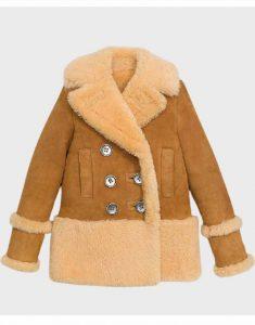 Womens-Brown-Sheepskin-Shearling-Pea-Coat