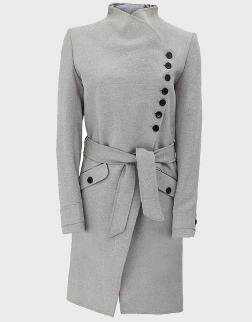 Womens-Grey-Woolen-Robe-Long-Coat