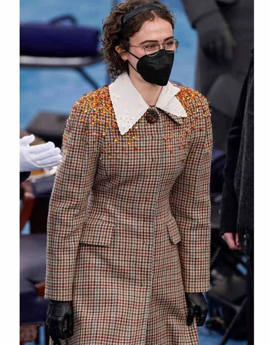 Ella-Emhoff-Miu-Miu-Brown-Checkered-Coat