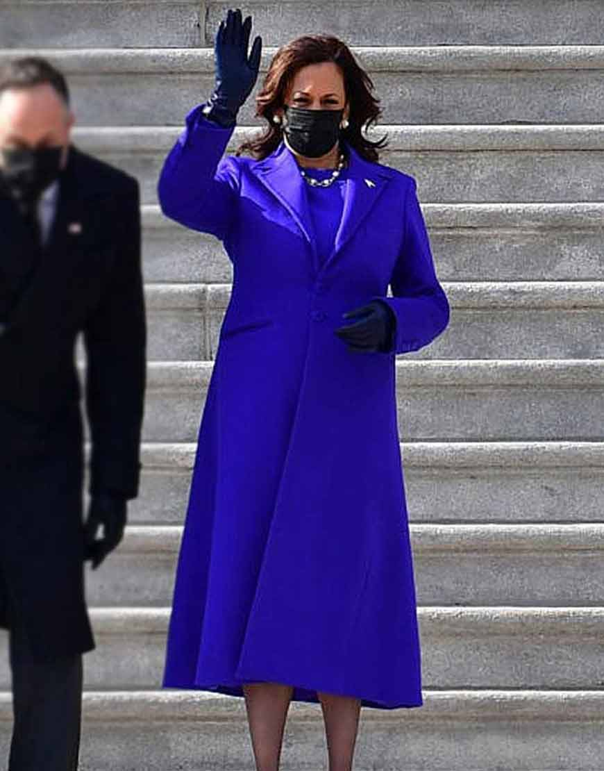 Kamala-Harris-Royal-Blue-Trench-Coat