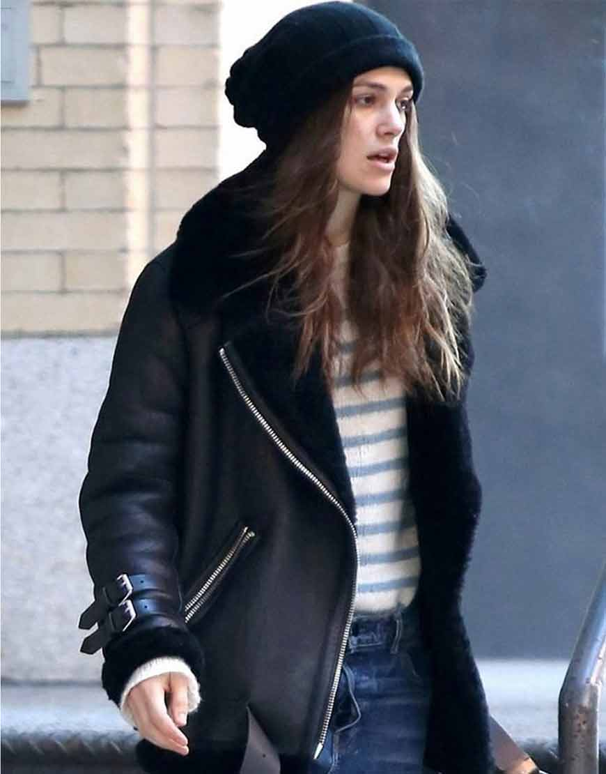 Keira-Knightley-B3-Black-Shearling-Genuine-Leather-Jacket