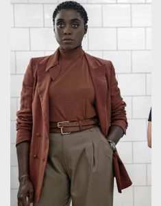 Lashana-Lynch-No-Time-to-Die-Double-Breasted-Nomi-Brown-Coat
