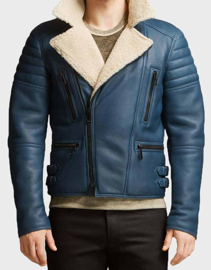 Mens-Blue-Shearling-Leather-Jacket