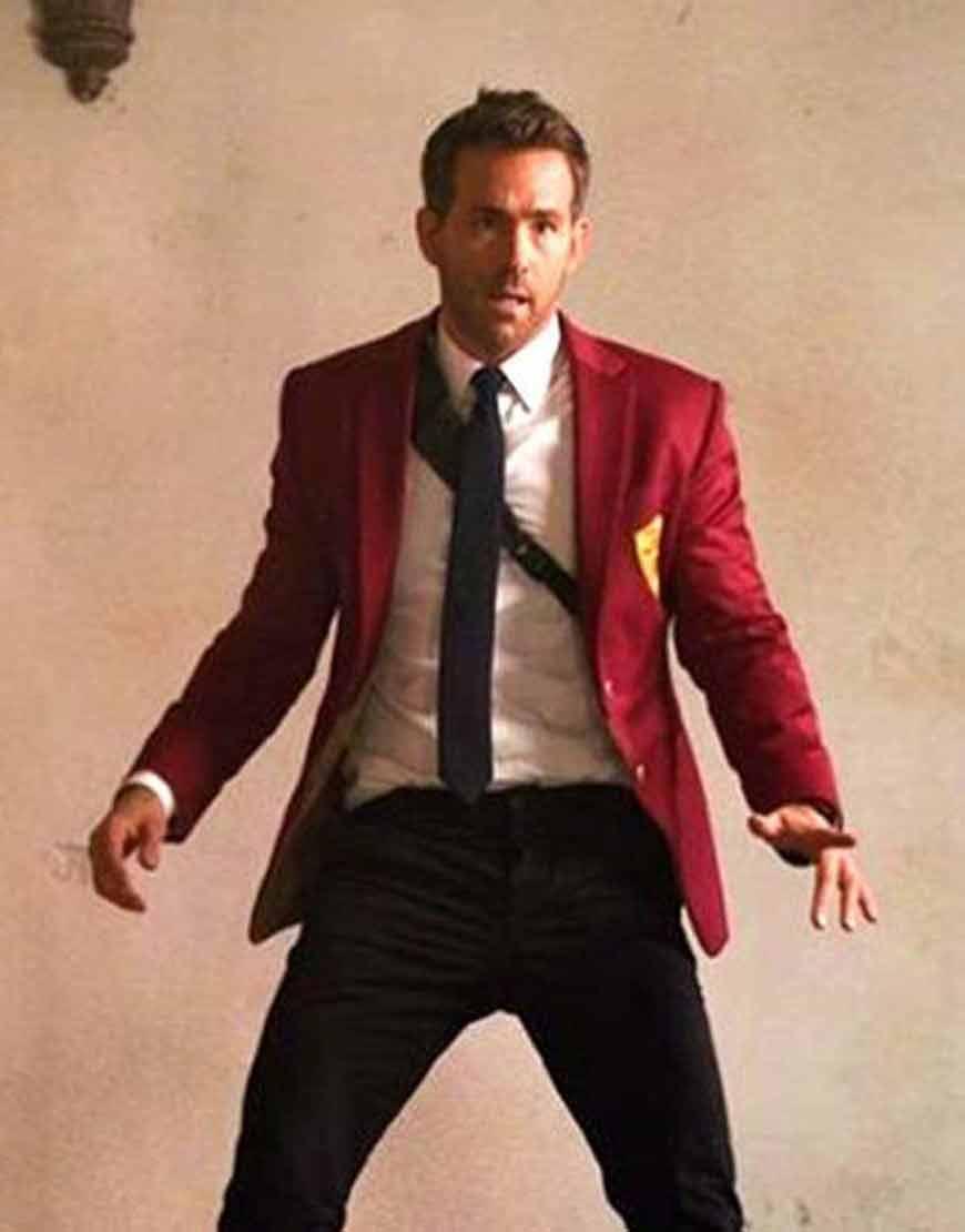 Ryan-Reynolds-Red-Notice-Red-Satin-Blazer