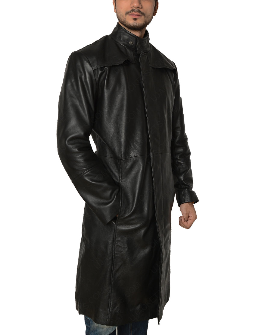 The Matrix Keanu Reeves Black Leather Trench Coat
