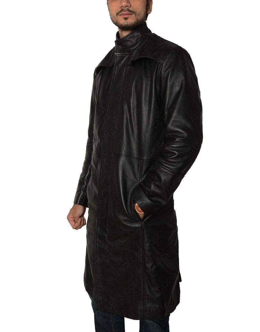 The Matrix Keanu Reeves Black Long leather Coat