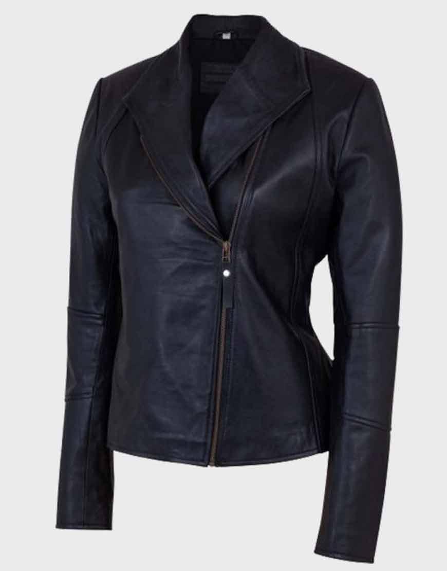 Women-Asymmetrical-Shawl-Collar-Black-Leather-Jacket