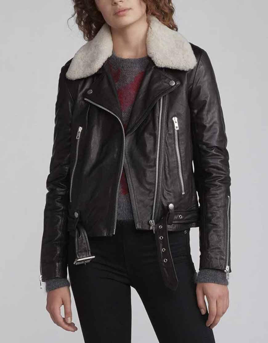 Zoe-Chao-Love-Life-Sara-Yang-Black-Leather-Jacket-with-Fur-Collar