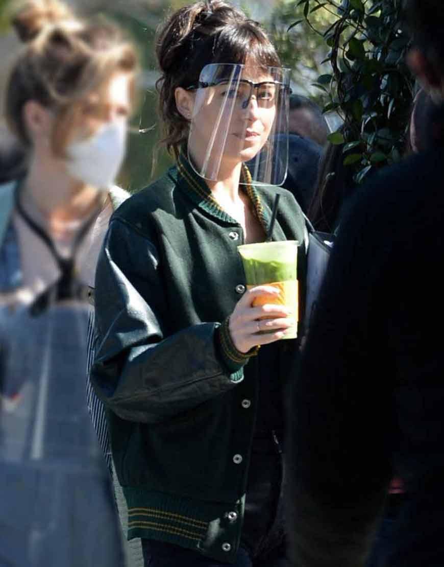 Dakota-Jphnson-Am-I-OK-2021-Lucy-Green-Varsity-Jacket