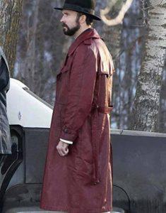 Gale-Kitchen-Fargo-Brad-Mann-Maroon-Leather-Tremch-Coat