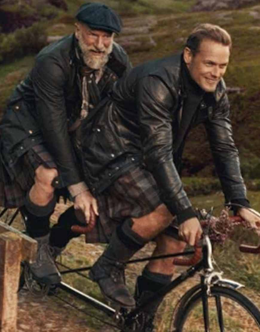 Men-in-Kilts-A-Roadtrip-with-Sam-and-Graham-Sam-Heughan-Black-Jacket