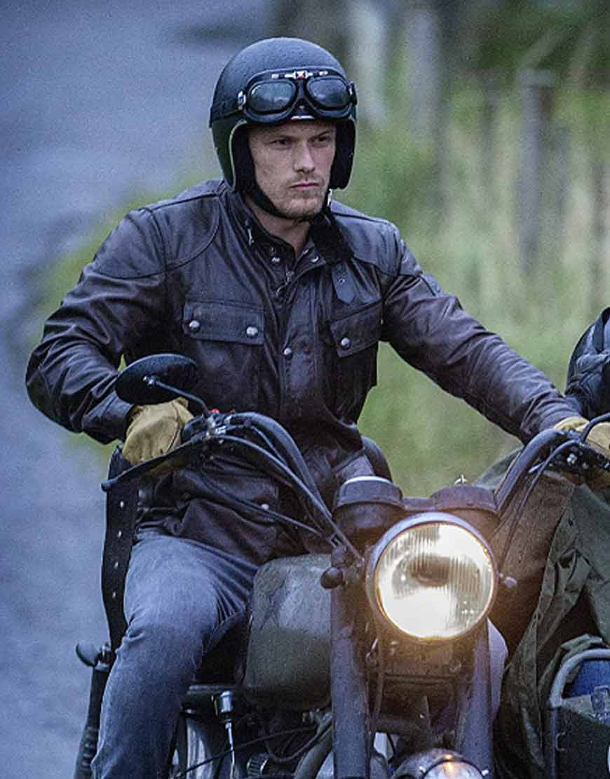 Men-in-Kilts-A-Roadtrip-with-Sam-and-Graham-Sam-Heughan-Black-Leather-Jacket