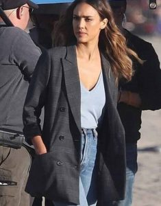 TV-Series-L.A.s-Finest-Grey-Jessica-Alba-Plaid-Blazer