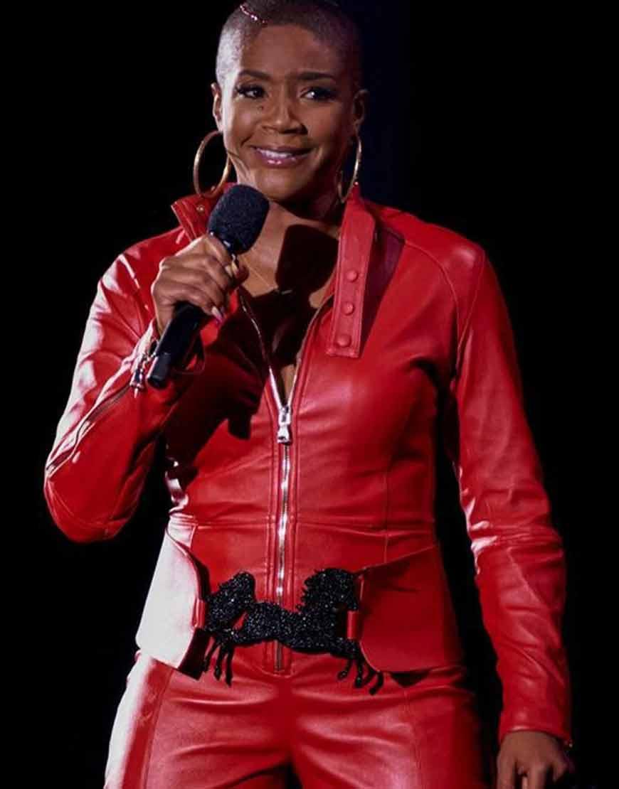 They-Ready-Tiffany-Haddish-Red-Leather-Jacket
